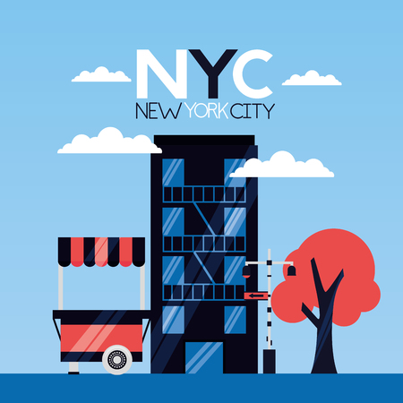 building food booth tree new york city vector illustration