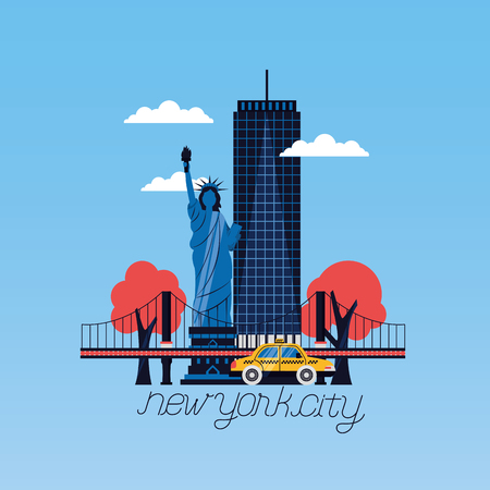 statue of liberty building bridge taxi new york city vector illustration Vettoriali