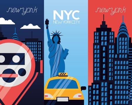 new york city statue of liberty taxi binoculars banners vector illustration  イラスト・ベクター素材