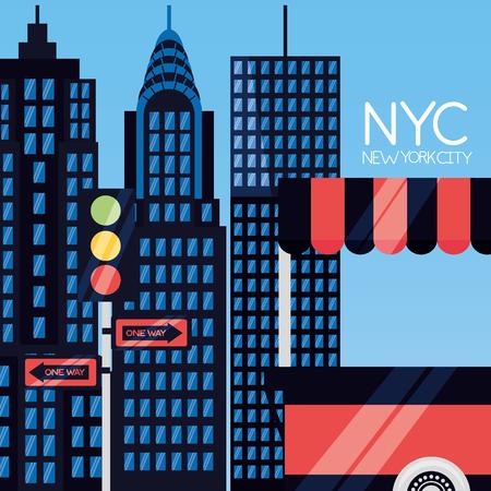skyscrapers landmark new york city vector illustration  イラスト・ベクター素材