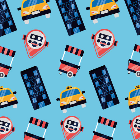 background taxi booth binoculars new york city vector illustration Zdjęcie Seryjne - 125981291