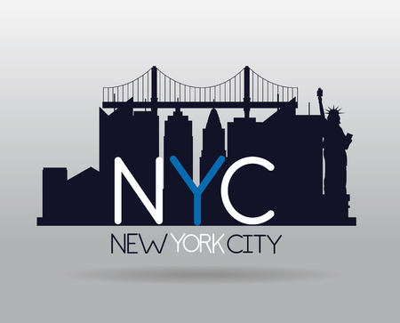 statue of liberty city new york skyscraper vector illustration