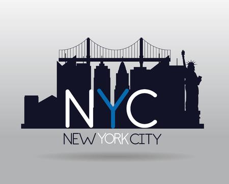 statue of liberty city new york skyscraper vector illustration