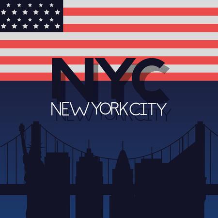 american city new york flag vector illustration