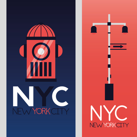 new york city fire hydrant and traffic light vector illustration
