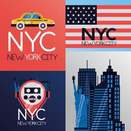 new york city emblem icons vector illustration Stock Illustratie