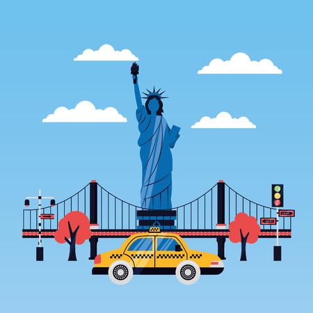 statue of liberty taxi new york skyscraper vector illustration Ilustrace