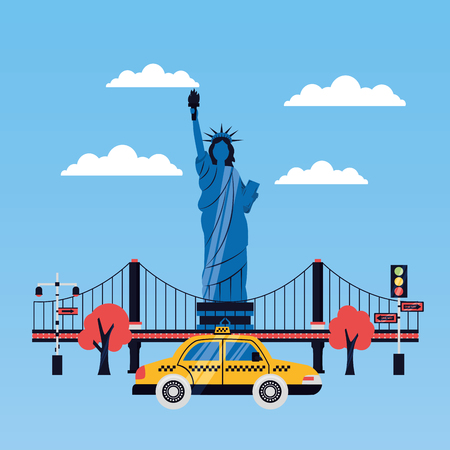 statue of liberty taxi new york skyscraper vector illustration Illustration