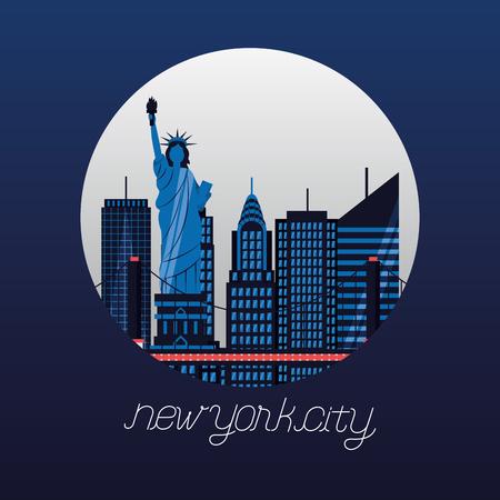 statue of liberty new york bridge skyscraper vector illustration