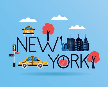 new york city emblem icons vector illustration  イラスト・ベクター素材