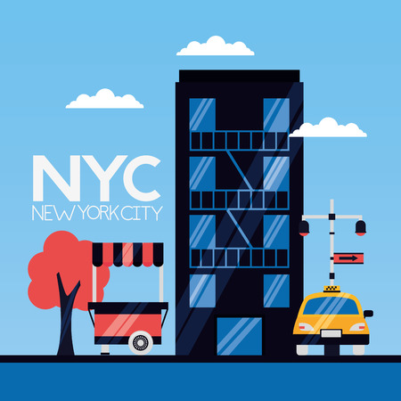 building food booth taxi new york city vector illustration