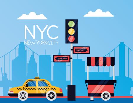 taxi traffic light arrows food booth new york city vector illustration