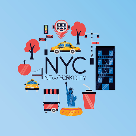 new york city emblem icons vector illustration Illustration