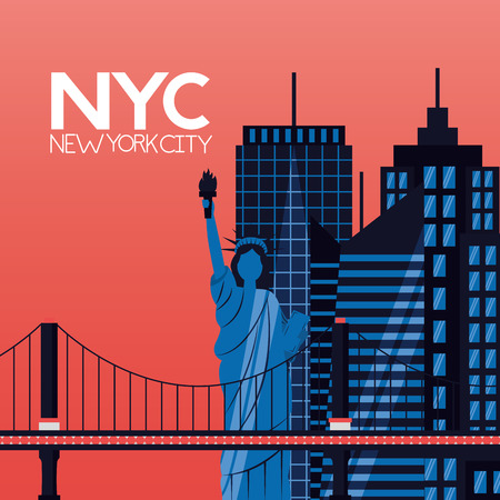 skyscrapers landmark new york city vector illustration Ilustracja