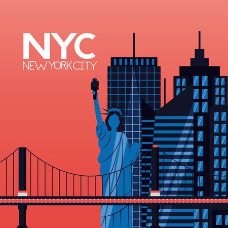 skyscrapers landmark new york city vector illustration Illustration
