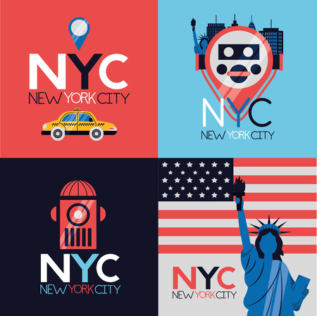 Ilustración de vector de iconos de emblema de la ciudad de nueva york