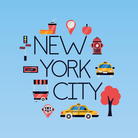 new york city emblem icons vector illustration  イラスト・ベクター素材