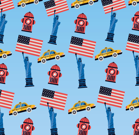 statue of liberty building taxi background new york city vector illustration Illustration