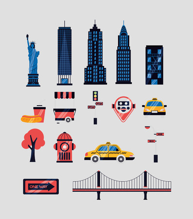 new york city emblem icons vector illustration Illusztráció