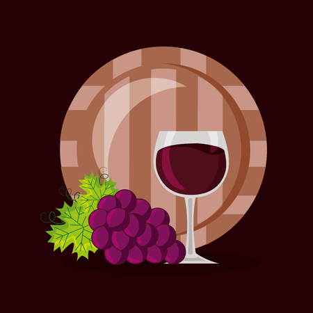 bunch grapes barrel and cup vector illustration Banco de Imagens - 115689945