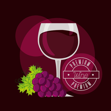 bunch grapes barrel and wine cup vector illustration Stock Vector - 115689947