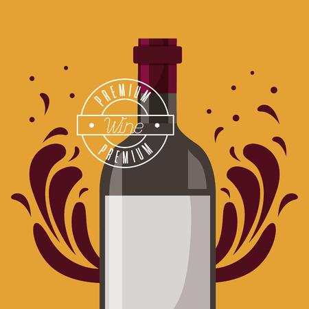 wine bottle creative splashes premium vector illustration