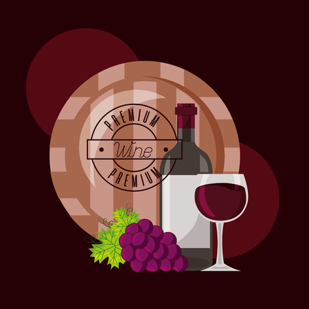 wine bottle cup barrel and grapes vector illustration Imagens - 115689949