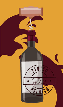 wine bottle corkscrew cork splash vector illustration