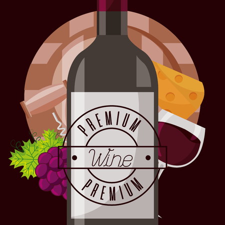 wine bottle barrel cheese and fresh grapes vector illustration Çizim