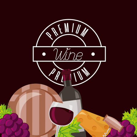 wine bottle cup barrel cheese crokscrew grapes vector illustration Stock Vector - 115689978