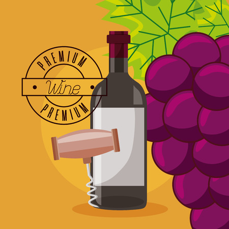 wine bottle corkscrew grapes premium vector illustration