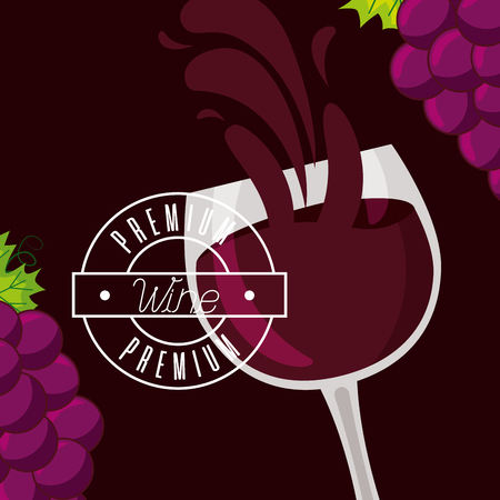 wine cup bunch fresh grapes splash vector illustration