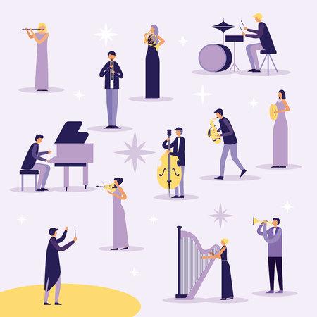 music instruments people playing drumms saxophone singing vector illustration Archivio Fotografico - 125981348