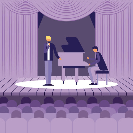 music instrumentman playing piano singing presentation vector illustration