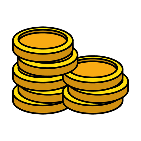 pile coins money icon vector illustration design