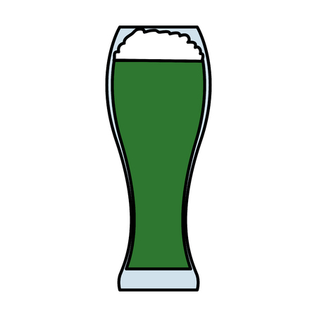 glass with green beer vector illustration design Illustration