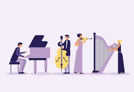 Banda de músicos con instrumentos ilustración vectorial
