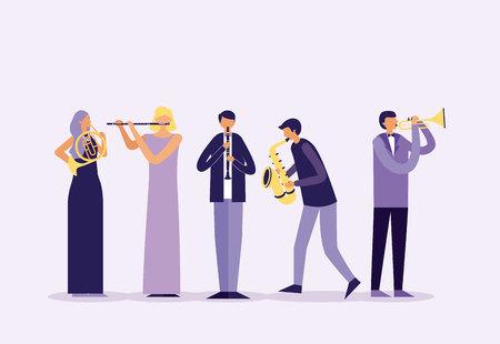 Musiker-Leute-Band mit Instrumentenvektorillustration Vektorgrafik