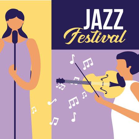 women singer and fiddle music jazz festival vector illustration