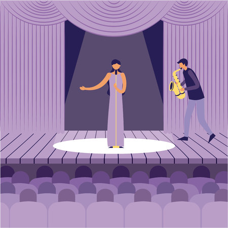 woman singer man with saxophone theater music jazz vector illustration 向量圖像