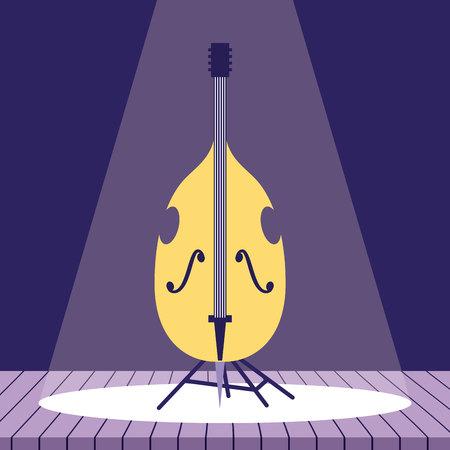 Instrumento musical violonchelo jazz escenario ilustración vectorial Ilustración de vector