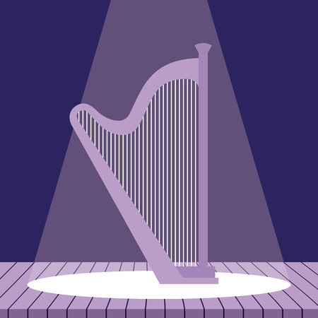 music instrument harp jazz stage vector illustration