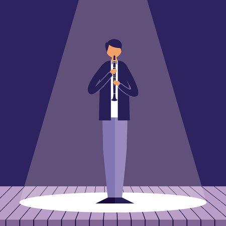 Mann mit Klarinettenmusik Jazz in der Bühnenvektorillustration Vektorgrafik