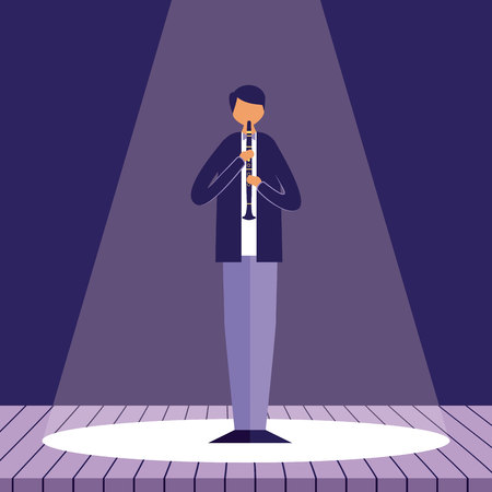 man with clarinet music jazz in the stage vector illustration