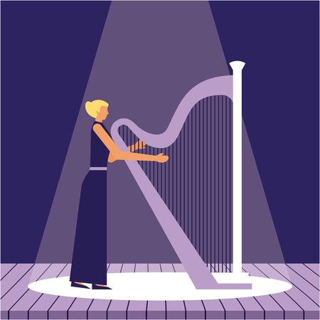 woman with harp music jazz in the stage vector illustration Ilustrace