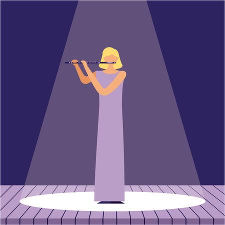 woman with flute music jazz in the stage vector illustration