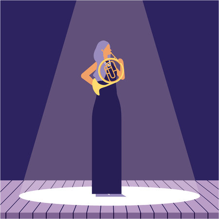 woman with double french horn jazz in the stage vector illustration Standard-Bild - 125981389