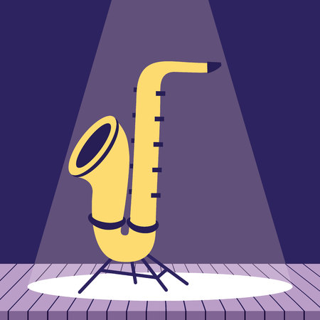 saxophone music jazz in the stage vector illustration