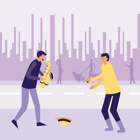 musician woman with saxophone in the street vector illustration