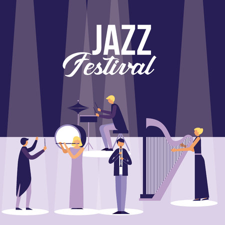 musician people band with instruments jazz festival vector illustration